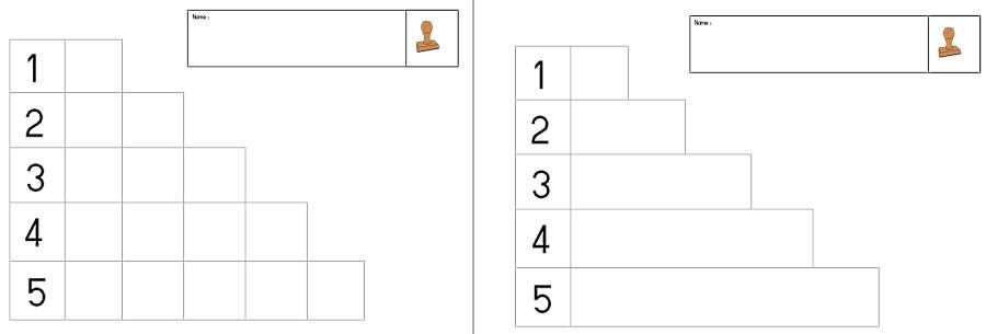 Stempeln der Mengen 1-3 bzw. 1-5