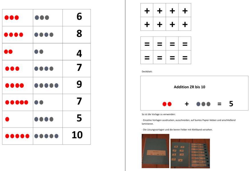 Aufgabenmappe - Addition ZR bis 10