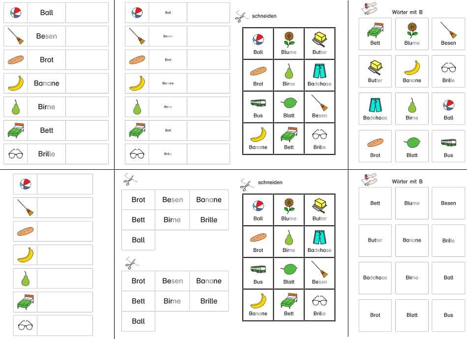 Ganzwörter und Anlautbilder kleben - Klettmappe  - B, F, H, Sch, U, W, G, K