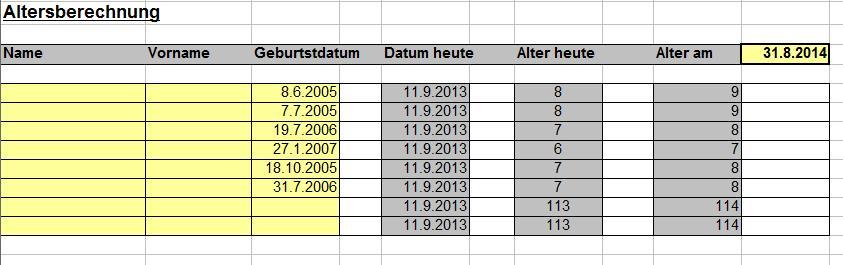 Alter der Schüler einfach berechnen - Exeltabelle