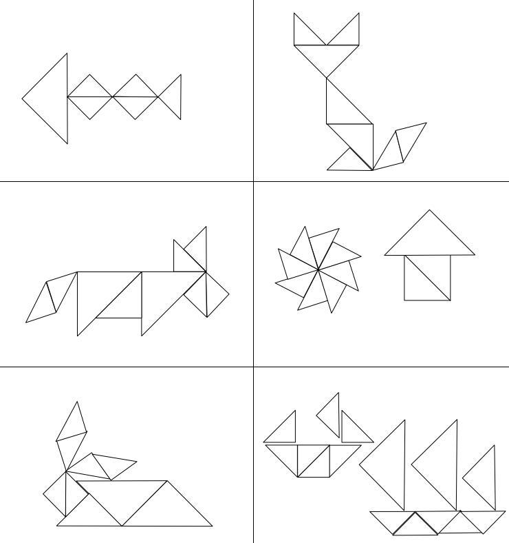 Figuren zum Nachlegen mit Dreiecken