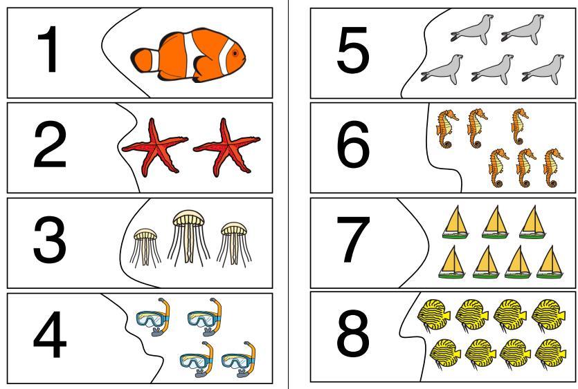 Puzzle - Menge-Zahl-Zuordnung - Ozean