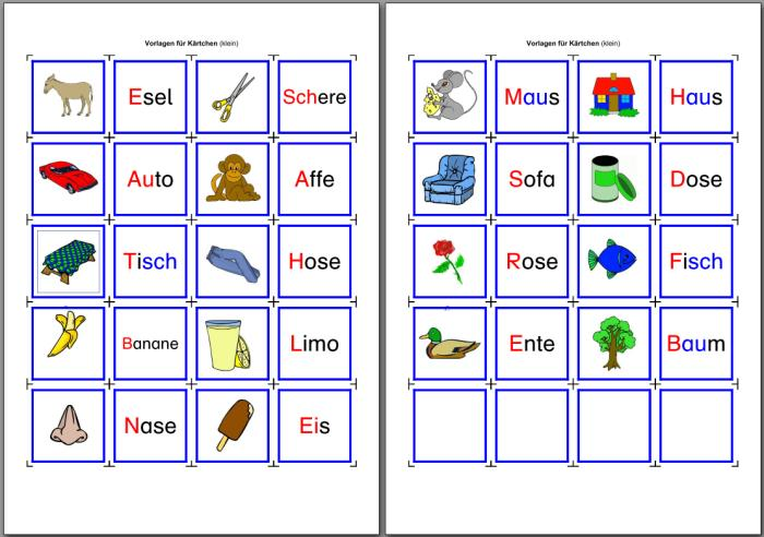 Lese-Memorie - Wort-Bild
