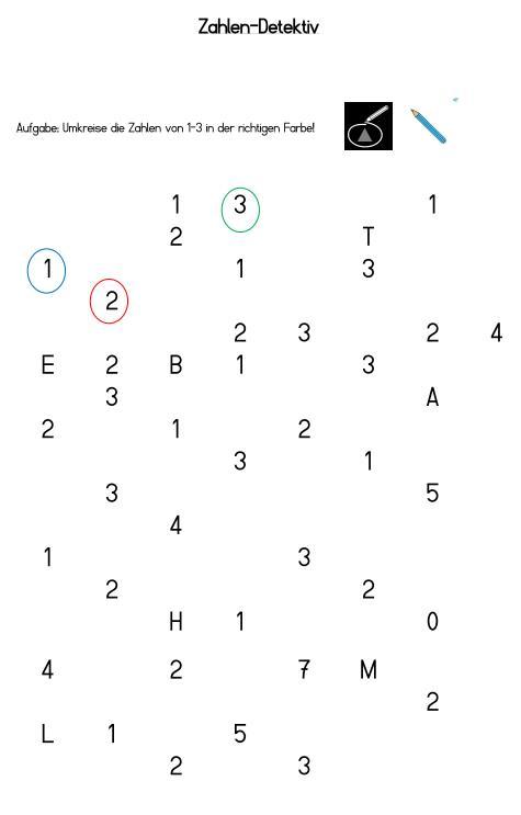Zahlen finden und umkreisen
