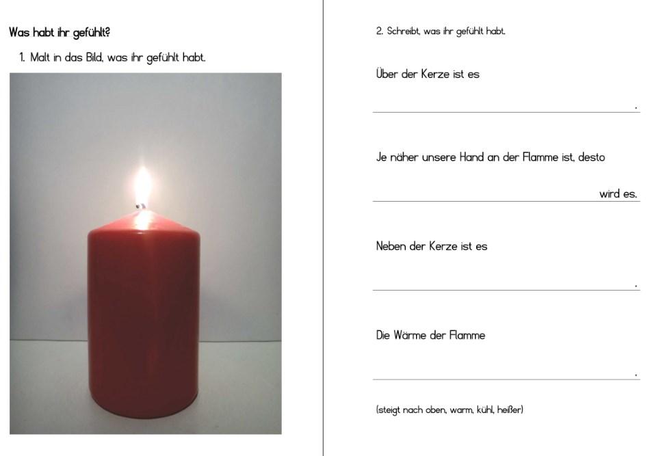 Warme Luft steigt auf - Arbeitsblatt zum Kerzenversuch