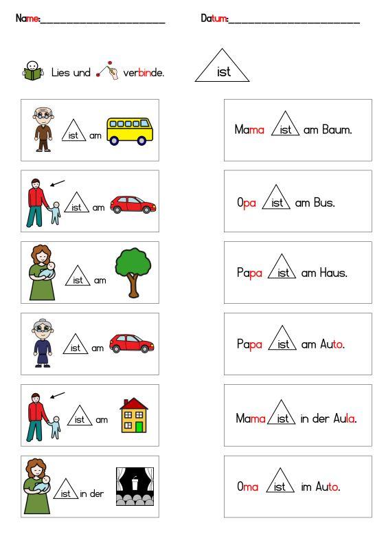Sätze lesen und verbinden