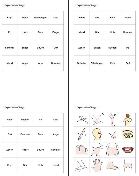 Körperteile-Bingo