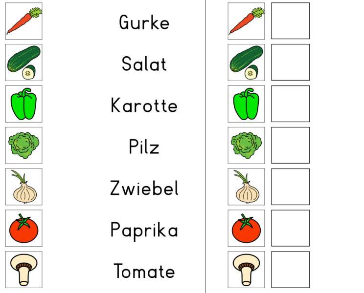 Wort-Bild-Zuordnung - Gemüse