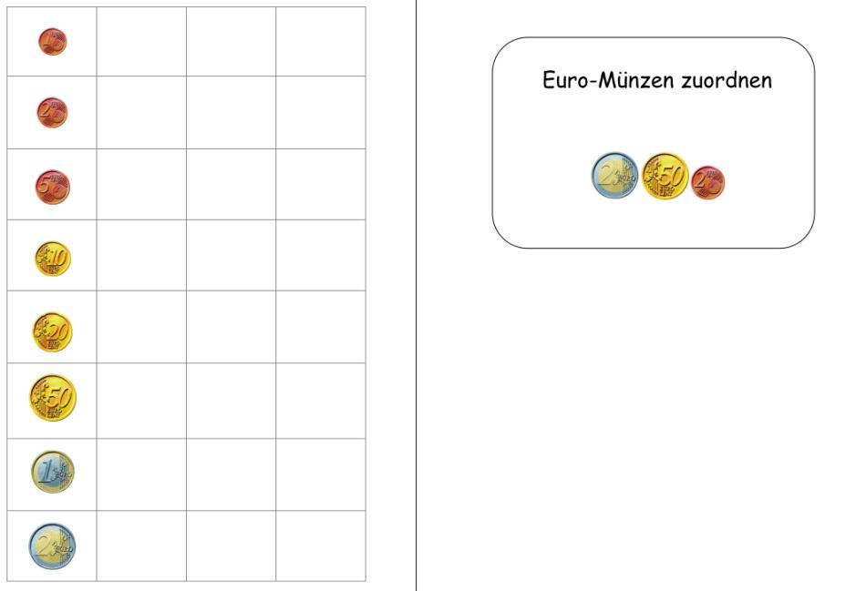 Aufgabenmappe - Euro-Münzen zuordnen