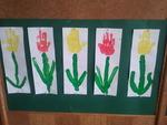 Blumen mit Handabdruck