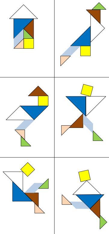 Figuren zum Nachlegen mit Tangram-Formen