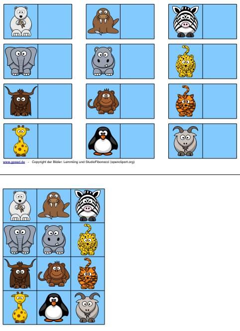 Aufgabenmappe - Tiere zuordnen