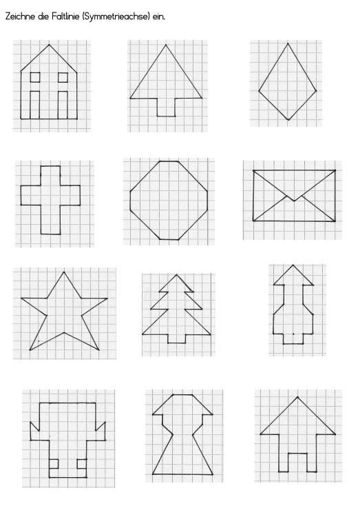 Achsensymmetrie - Symmetrieachse einzeichnen