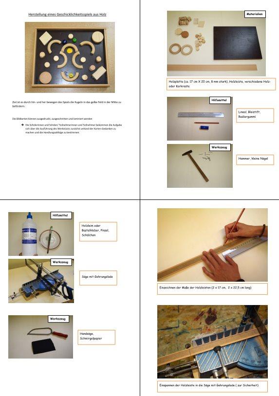 Herstellung eines Geschicklichkeitsspiels aus Holz