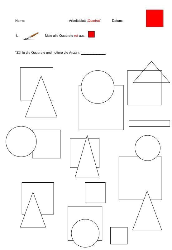 Flächenformen - Quadrat - Rechteck - Dreieck