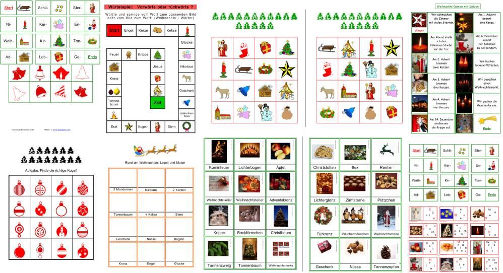 Lese- und Konzentrationsspiele rund um Weihnachten - Teil 1