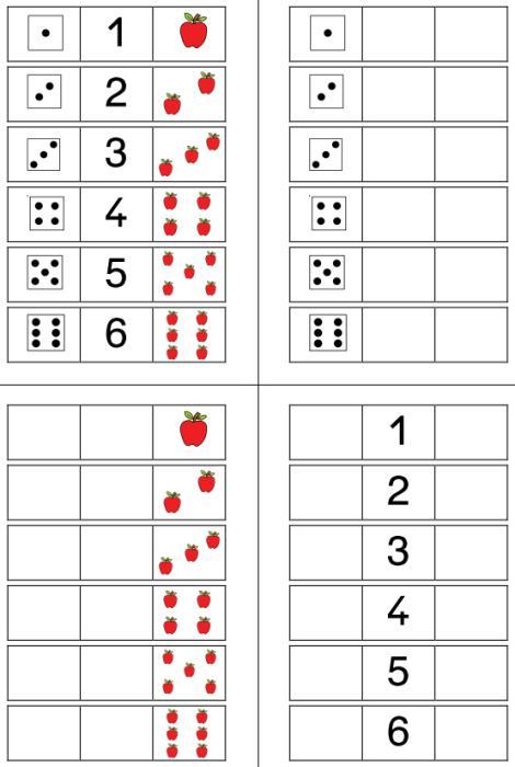 Aufgabenmappe - Zuordnung Würfel-Zahl-Mengenbild