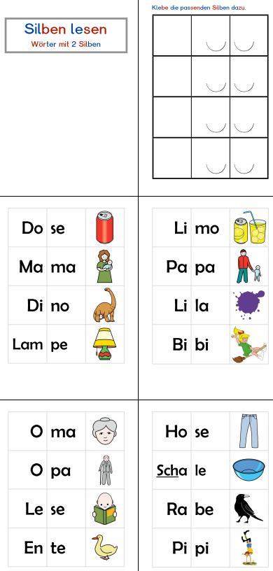 Aufgabenmappe - Silben lesen (zweisilbige Wörter)