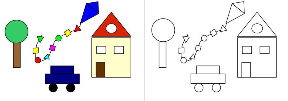 Formen - Kreis, Dreieck, Viereck finden und anmalen
