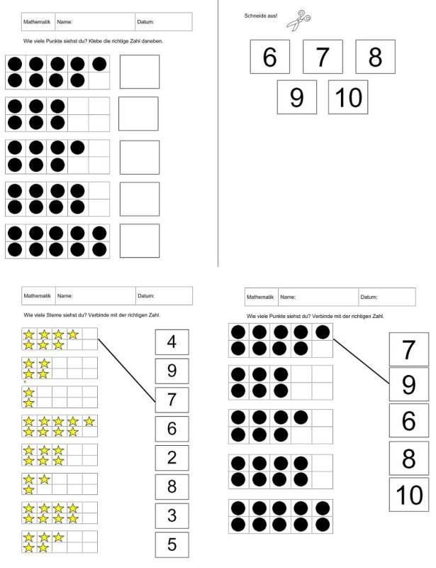 Arbeitsblätter zur Mengen-Zahl-Zuordnung