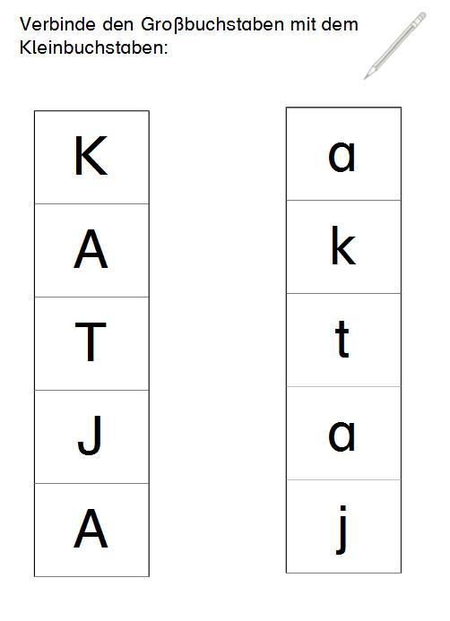 Zuordnung Klein- und Großbuchstaben