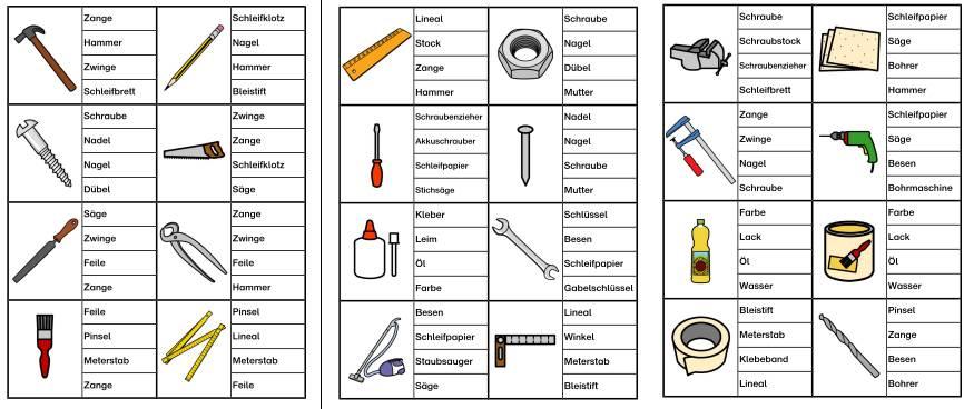 Klammerkarten Werkzeuge