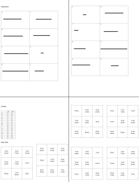 Bingospiel - Messen in cm und mm