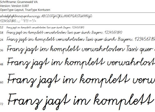Vereinfachte Ausgangsschrift - Gruenewald VA