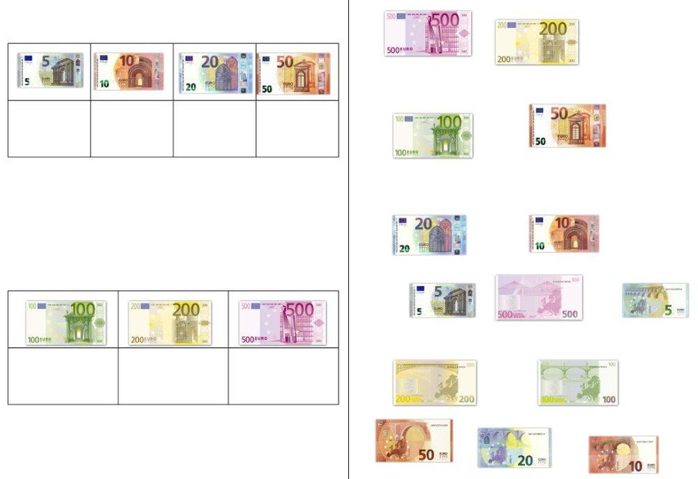 Aufgabenmappe - Geldscheine und Münzen zuordnen