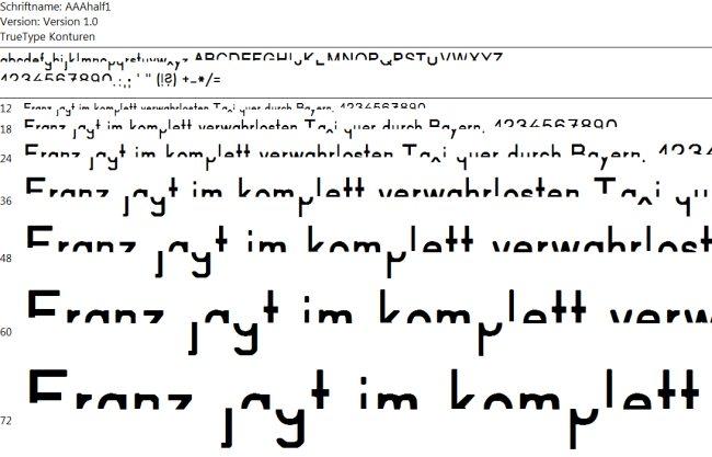 Half 1 - halbe Buchstaben (leichte Version)