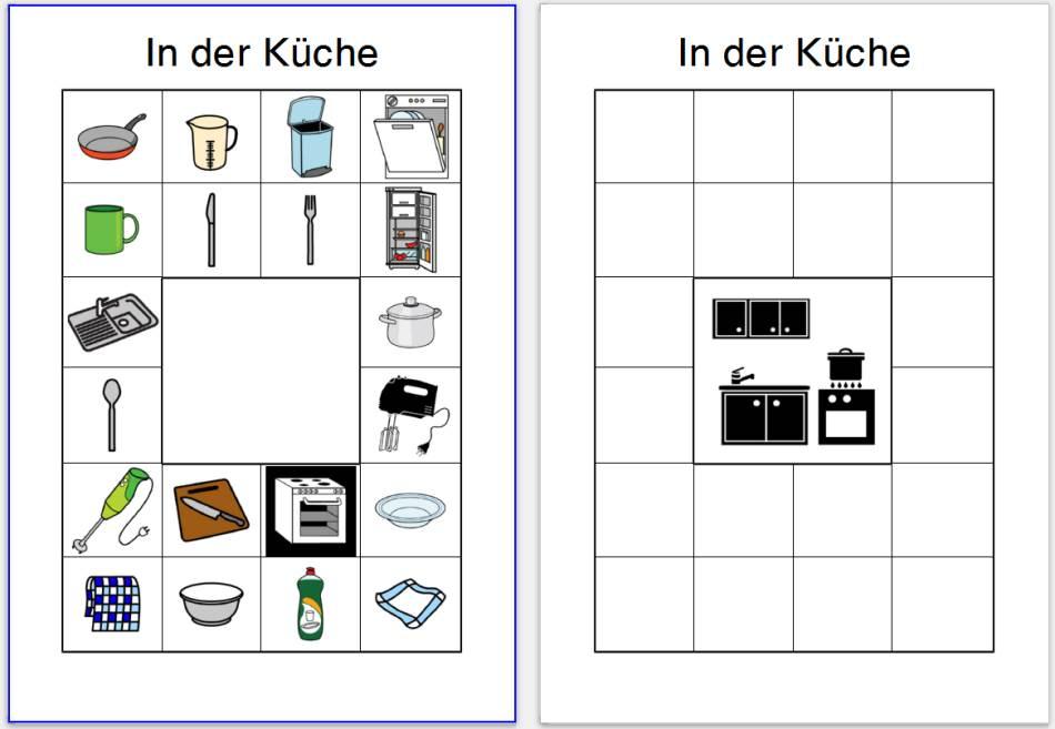 Bildkärtchen zur Sprachförderung - Im Schrank und In der Küche