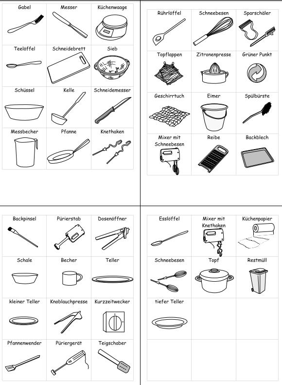Bildkarten Küchenwerkzeuge