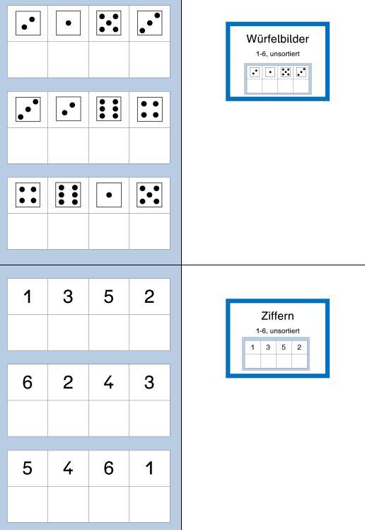 Aufgabenmappen - Würfelbilder & Ziffern 1-6