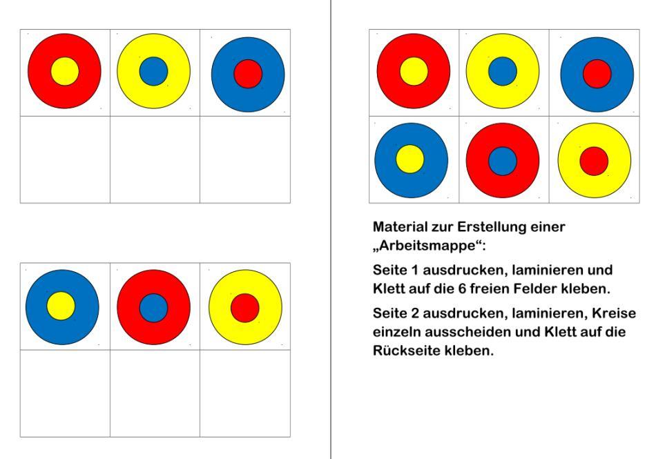 Arbeitsmappe Zuordnungsaufgabe Farbkreise