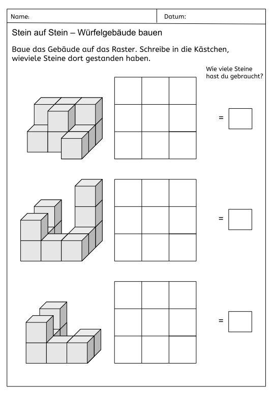 Würfelgebäude mit Holzwürfeln bauen und Baupläne erstellen
