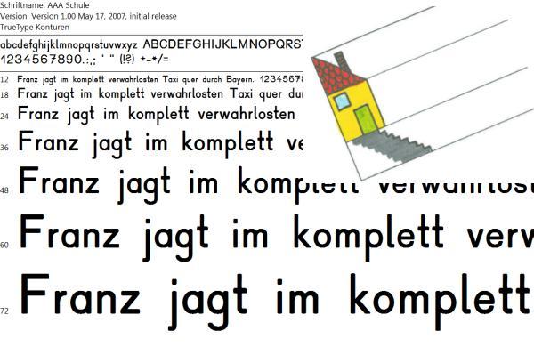 Selbsterstelltes Druckschrift-Paket: Schriftart mit Lineatur inkl. Haus (alle Buchstaben)