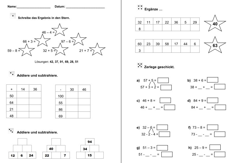 Addition und Subtraktion im Zahlenraum bis 100