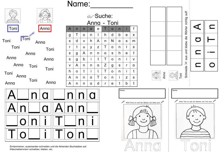 Die kleine Fibel - Arbeitsblätter zu den Ganzwörtern Anna und Toni