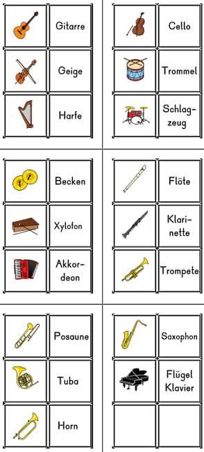 Musik-Instrumente - Memorie und - oder Wort-Bild-Zuordnungskarten