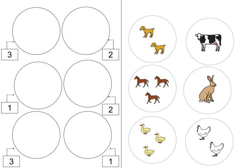 Aufgabenmappe - Zuordnung Mengenbild zu Zahl - ZR bis 3