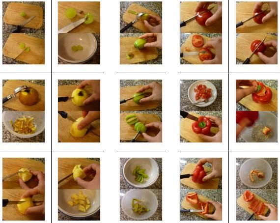 Fotoanleitungen zum Schneiden von Äpfeln, Kiwi, Trauben, Paprika und Tomaten