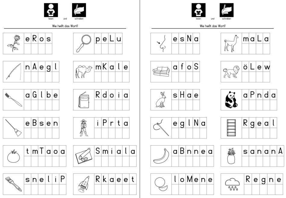 Purzelwörter - Lautgetreue Wörter schreiben