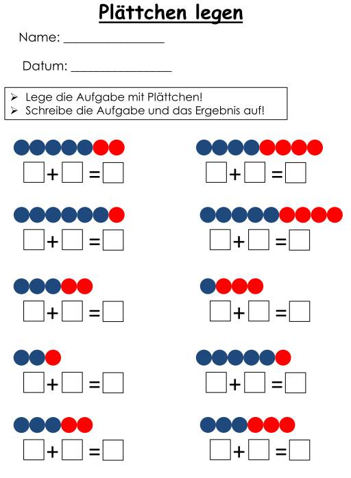 Addition im Zahlenraum bis 10: Plättchen legen und Aufgaben notieren