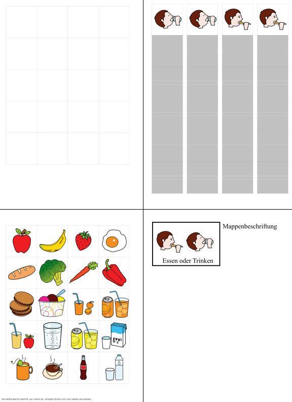 Aufgabenmappe - Essen oder Trinken