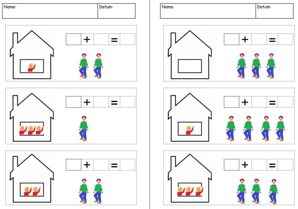 Bildlich dargestellte Additionsaufgaben