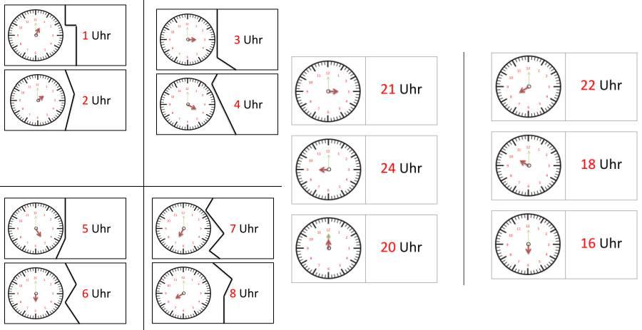 Uhrenpuzzle und -domino