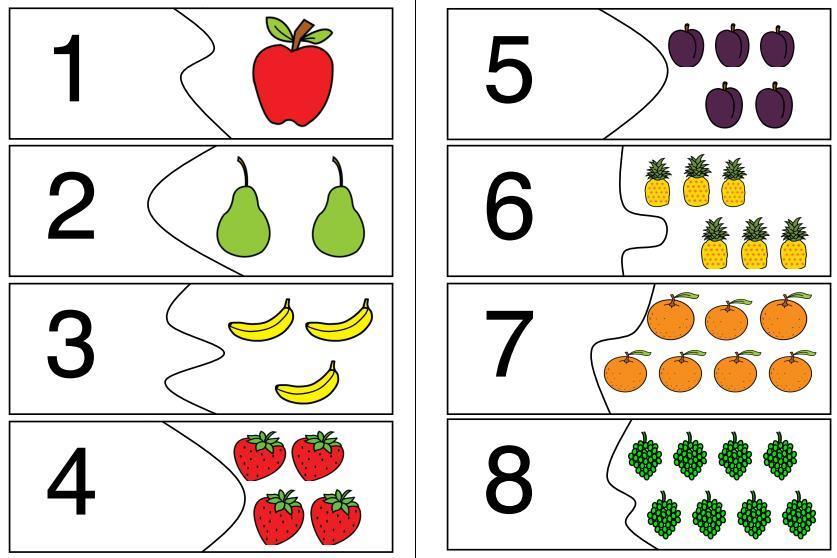 Puzzle - Mengen-Zahl-Zuordnung - Obst