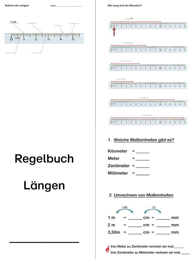 Längen - Arbeitsblätter und Regelbuch