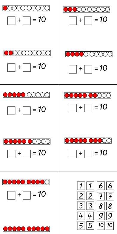 Zahlenschiffchen - ZR 10 bis 10 ergänzen