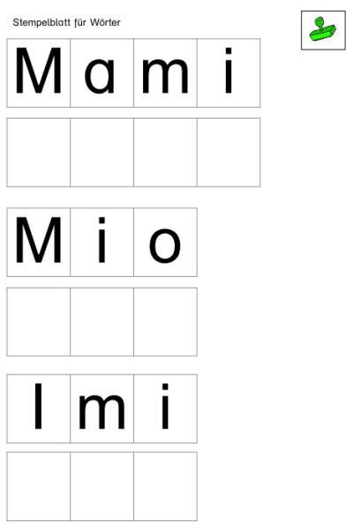 Stempelvorlagen für Wörterstationen - Momel Leselehrgang 1